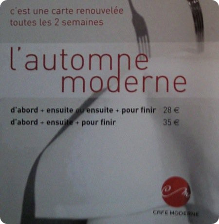 Cafe moderne menu